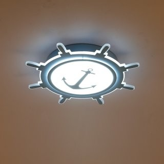 现代简约艺术个性儿童房创意空间LED灯具-船舵造型 18W 灯具尺寸 D420*60mm 暖光  蓝色